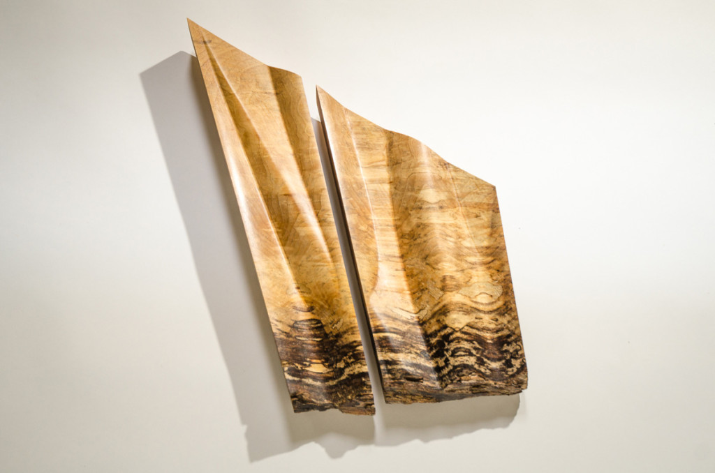 Angular abstract spalted wood carving wall art diptych