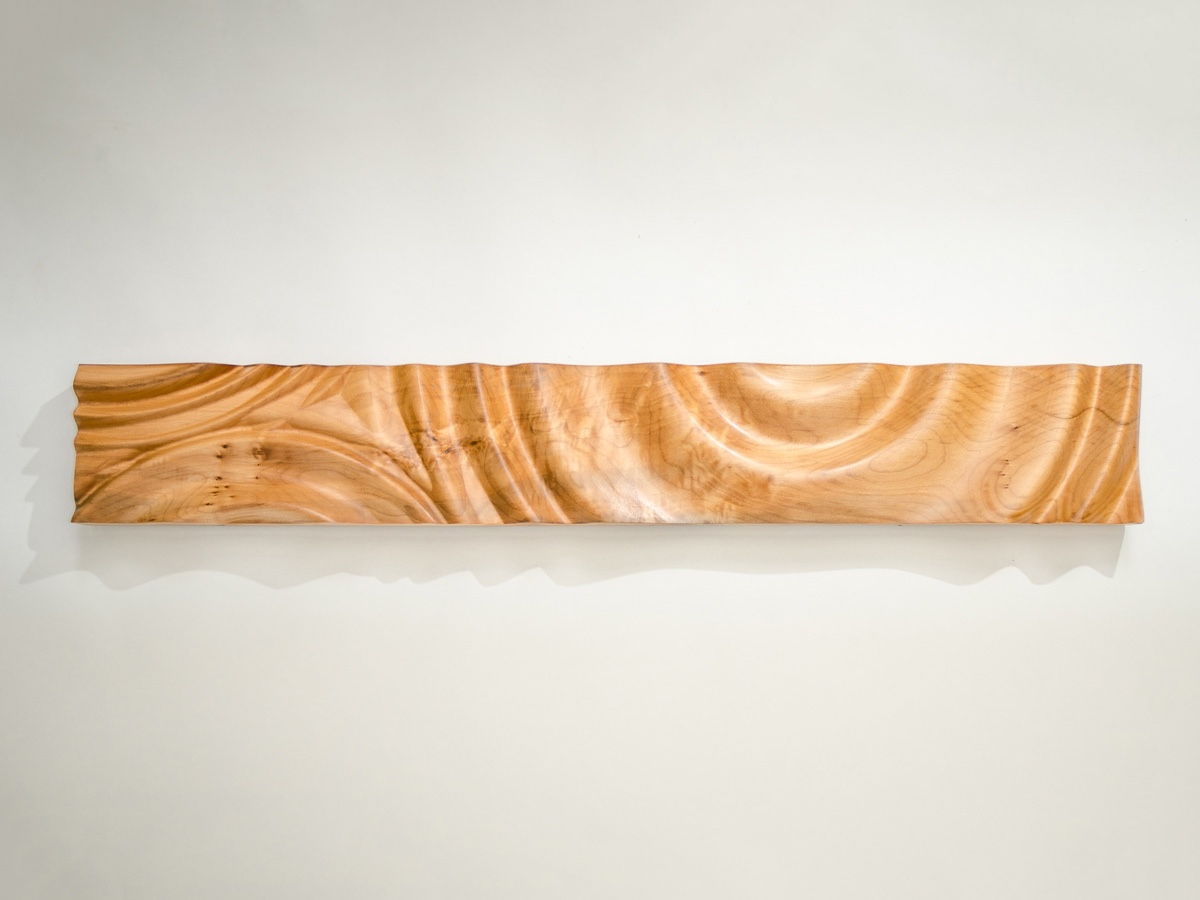 Rippled wood carving wall panel by Tim Celeski