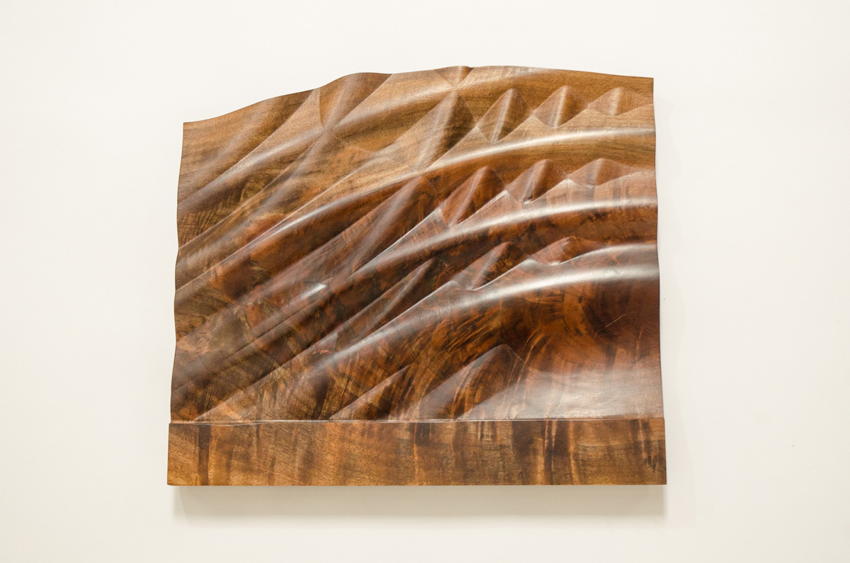 Abstract walnut wood carving wall art